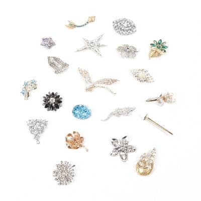 Vintage Crystal Rhinestone Brooches