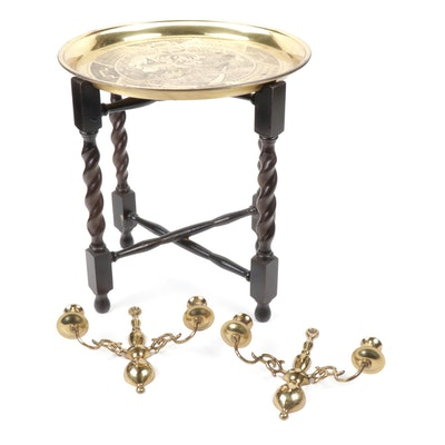 """Blue Willow"" Engraved Brass Tea Tray Table and Wilton Sconces"