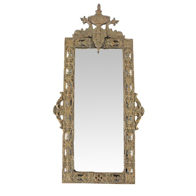 Neoclassical Brass Beveled Accent Mirror