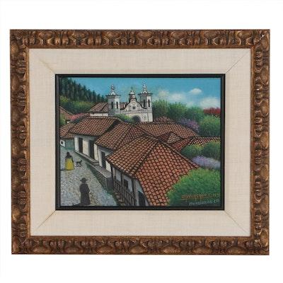 Jose Antonio Velasquez Oil Painting, 1971