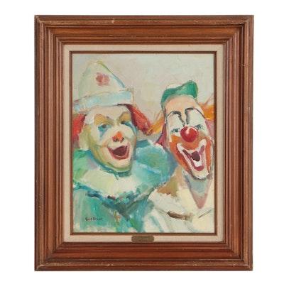 "Gert Block Oil Painting ""Clowning Around"""