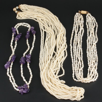 Cultured and Imitation Pearl Necklaces Featuring Amethyst