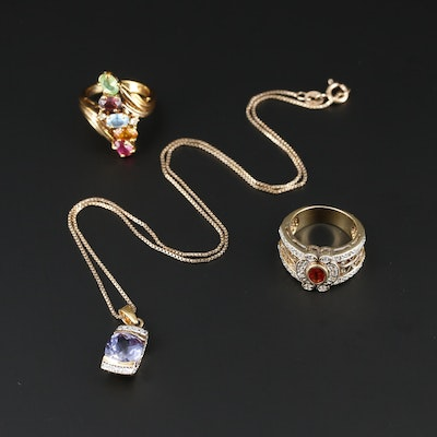 Assorted Jewelry Including Sterling Silver, Orange Sapphire and Blue Topaz