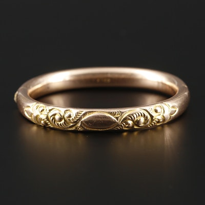 Circa 1900's EMCO Chaised Scrollwork Hinged Bracelet