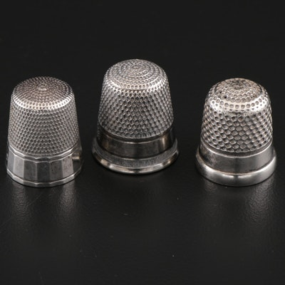 American Sterling Silver Sewing Thimbles Including Simons Bros.