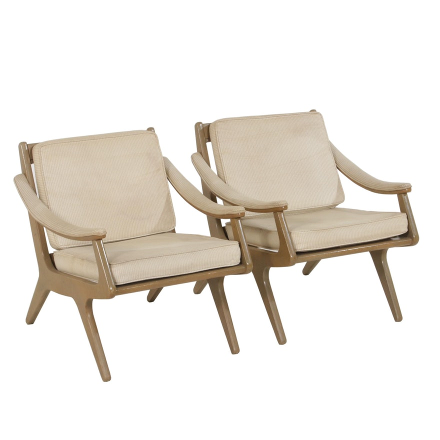 Mid Century Modern Armchairs with Upholstered Arms, Mid-20th Century