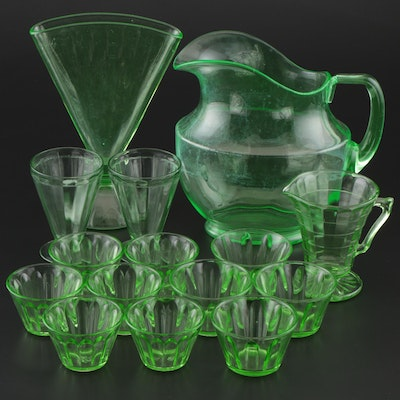 Vaseline Glass by Hazel Atlas with a Large Pitcher and Fan Vase