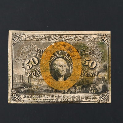 Second Issue Fifty Cent Fractional Currency Note With George Washington Image