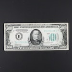 Series of 1934 A $500 Federal Reserve Note with Green Seal