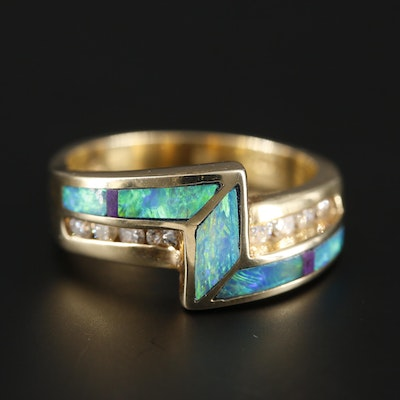 14K Yellow Gold Opal, Diamond and Sugilite Ring
