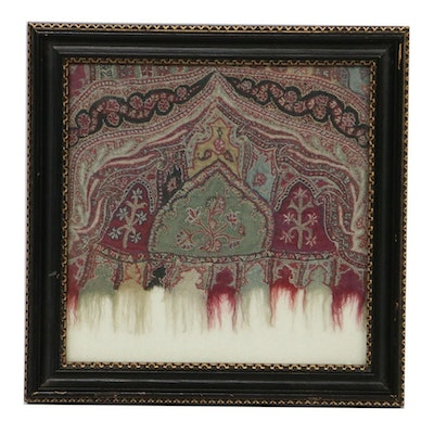 Scottish Paisley Style Handmade Wool Shawl Fragment, circa 1856