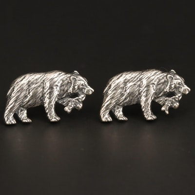 Kabana Sterling Silver Bear Stud Earrings