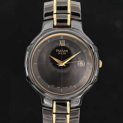Pulsar Black and Gold Tone Solar Quartz Wristwatch