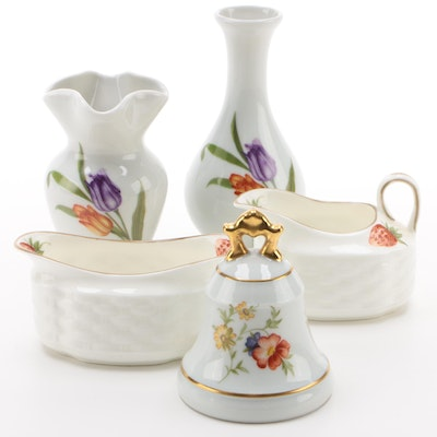 "Coalport ""Strawberry"" Bone China Creamer and Sugar with Limoges Porcelain Décor"