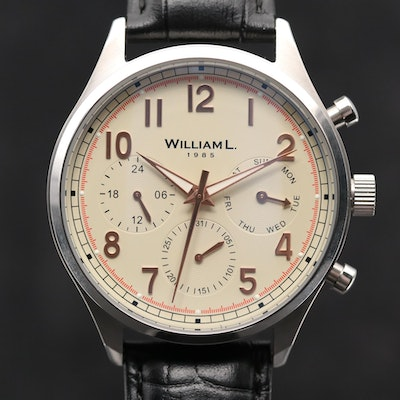 William L Vintage Style Stainless Steel Quartz Calendar Wristwatch