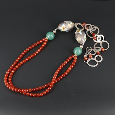 Sterling Silver Carnelian, Glass and Cloisonne Enamel Beaded Necklace