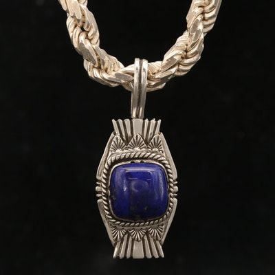 Southwestern Sterling Silver Lapis Lazuli Pendant Necklace