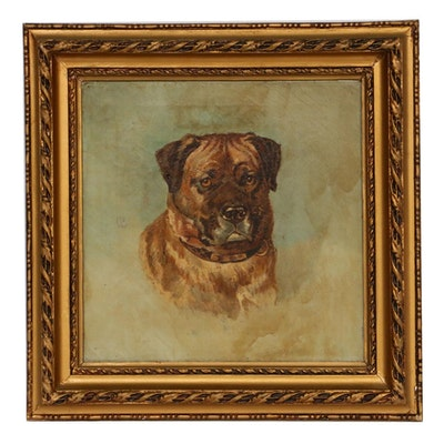 Dog Portrait Oil Painting, Late 19th/Early 20th Century
