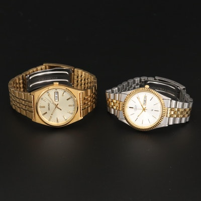 Seiko Gold Tone and Citizen Two Tone Quartz Day and Date Wristwatches