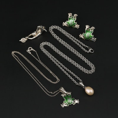 Sterling Enamel Frog Necklace and Earrings, Figural Pendant and Pearl Necklace