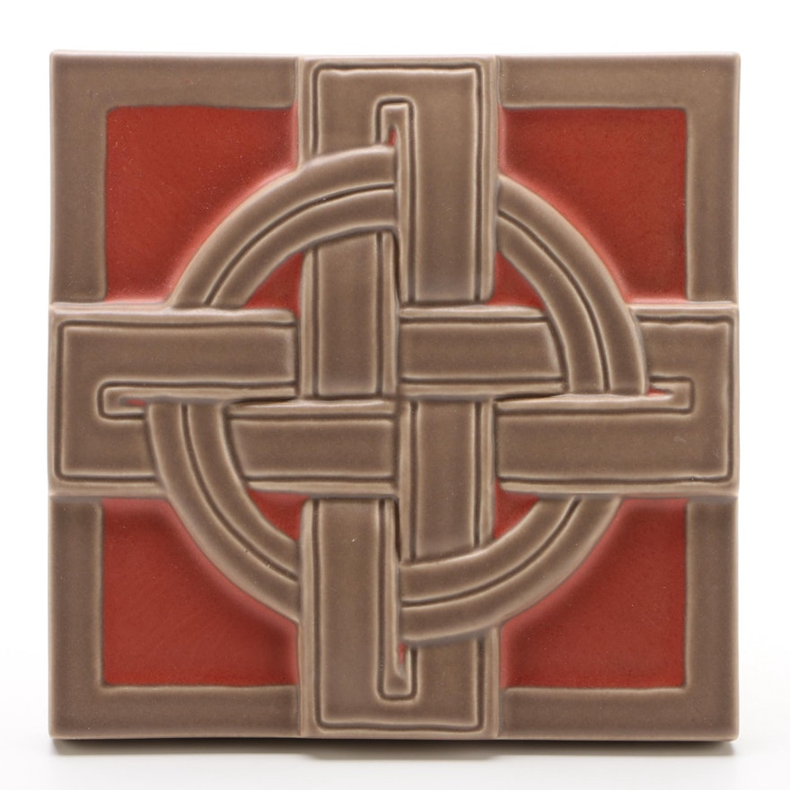 Rookwood Pottery 2012 Celtic Cross Trivet Tile