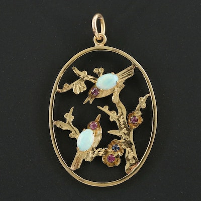 14K Yellow Gold Opal, Ruby and Blue Spinel Bird Motif Pendant