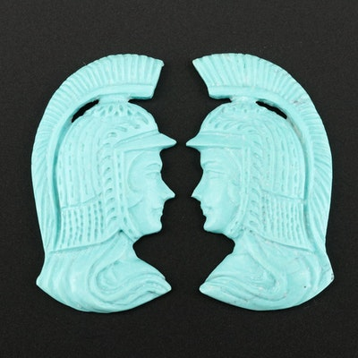 Turquoise Cameo Figural Carvings
