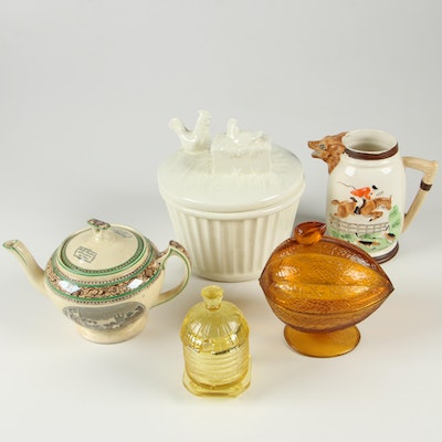 Adams Transferware Ceramic Teapot and Other Figural Table Accessories