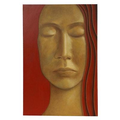 "Farnoosh Lanjani Oil Painting ""Meditation X,"" 2008"