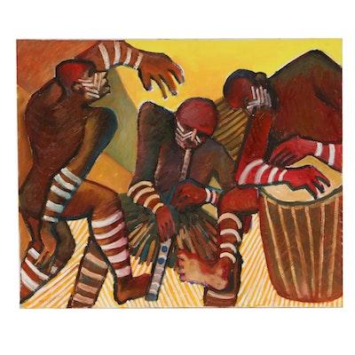 "Farnoosh Lanjani Oil Painting ""Tribal Dance,"" 2002"