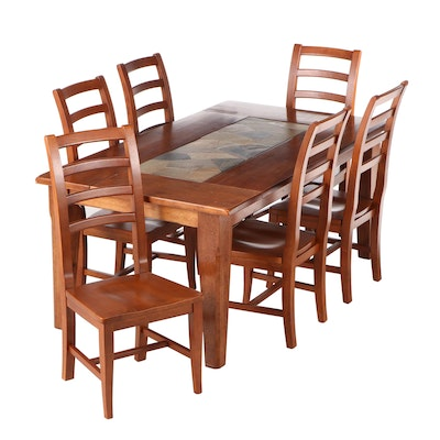 World Market Dining Set with Inset Slate, Late 20th Century