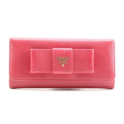 Prada Pink Saffiano Leather Bow Wallet