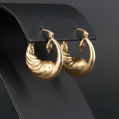 14K Yellow Gold Swan Earrings
