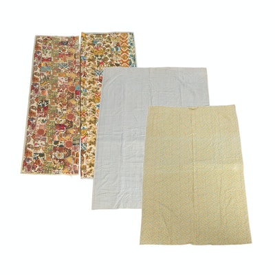 Handmade Full-Size Cotton Quilts, Mid-20th Century