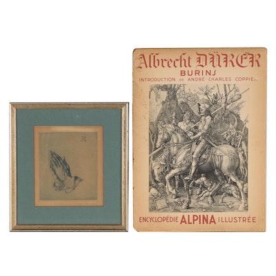 """Etching after Albrecht Dürer """"Praying Hands"""" and Book """"Albrecht Dürer Burins"""""""