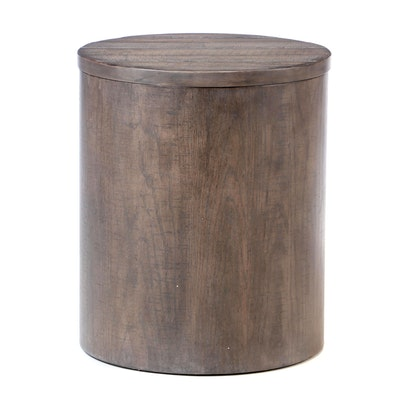 Contemporary Weathered Finished Storage End Table