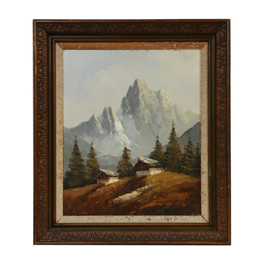 Alpine Landscape Oil Painting, Mid 20th Century