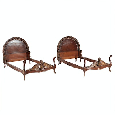 Pair of French Empire Style Carved Mahogany Twin Bed Frames, circa 1940