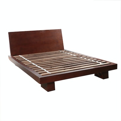 Oaqk Grained Queen Size Platform Bed Frame, Contemporary