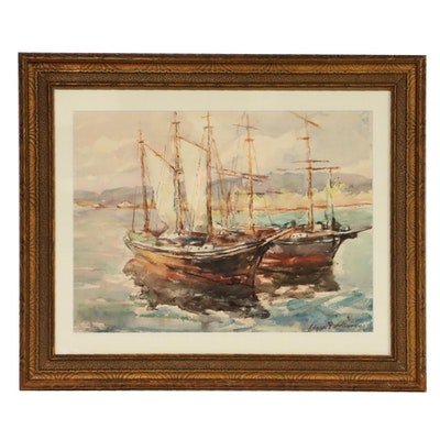 Edgar Forkner Harbor Scene Watercolor Painting, Early to Mid 20th Century