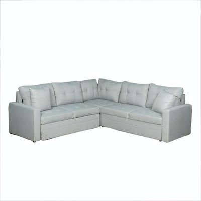 Tufted Sectional Sofa with Trundle, Contemporary