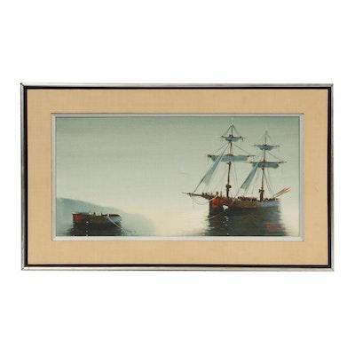 Marini Nautical Scene Oil Painting, Late 20th Century