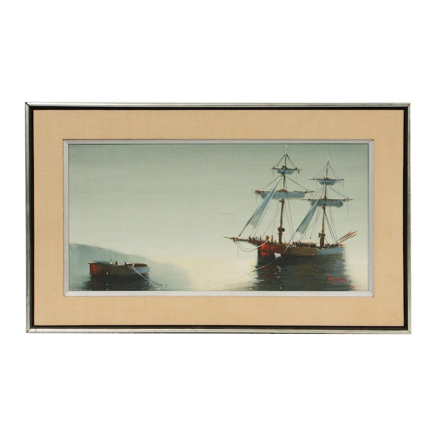 Marini Nautical Scene Oil Painting, Late 20th Century