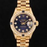 18K Gold Rolex Presidential Datejust Diamond and Sapphire Wristwatch, Circa 1986