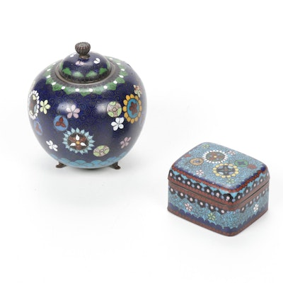 Japanese Meiji Period Cloisonné Lidded Jar and Trinket Box