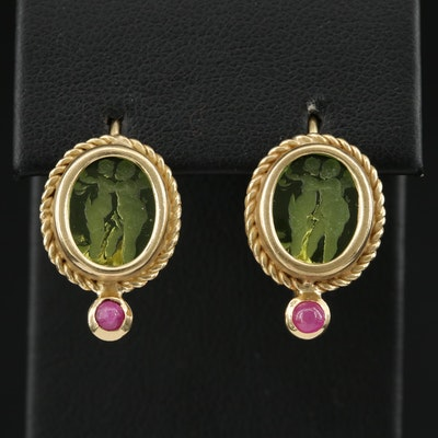 18K Yellow Gold Ruby and Glass Drop Intaglio Earrings