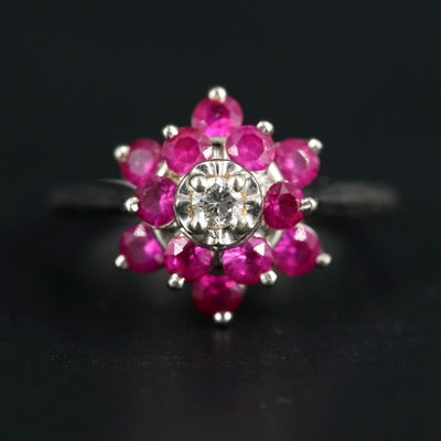 14K White Gold 0.07 CT Diamond and Ruby Ring