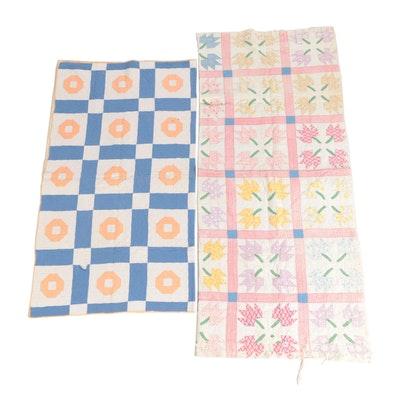 """Handcrafted """"Maple Leaf"""" and Geometric Pattern Quilts"""