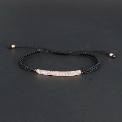 Sterling Silver Cubic Zirconia Adjustable Bracelet