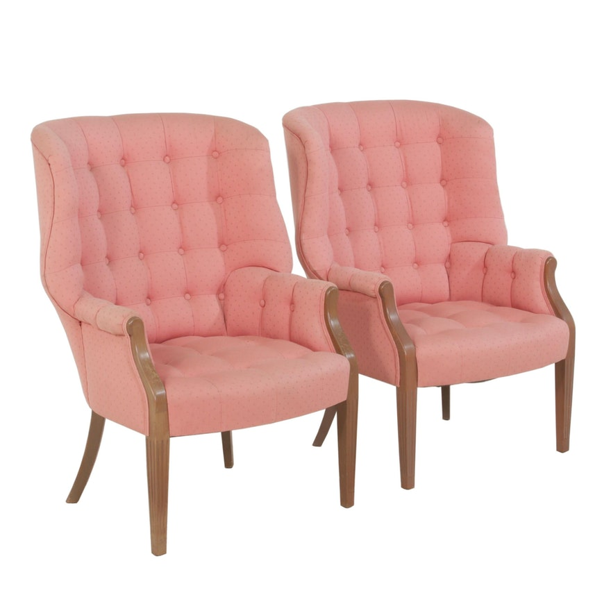 Tufted Wingback Armchairs, Mid 20th Century